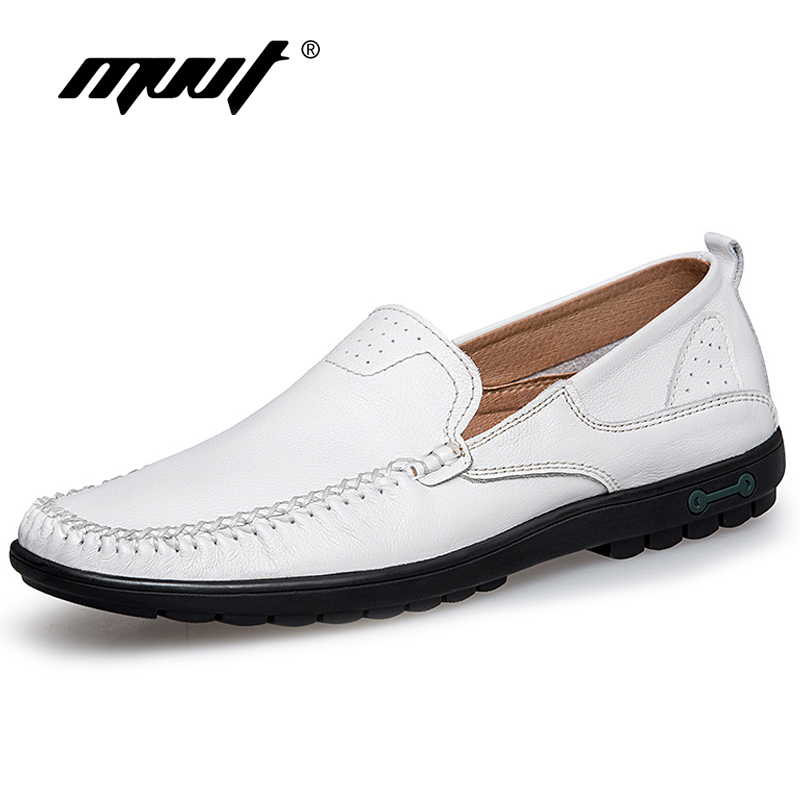 MVVT Brand Genuine Leather Shoes Mens Loafers Light Weight Casual Shoes Men Plus Size Men Flats Driving shoes White<br>