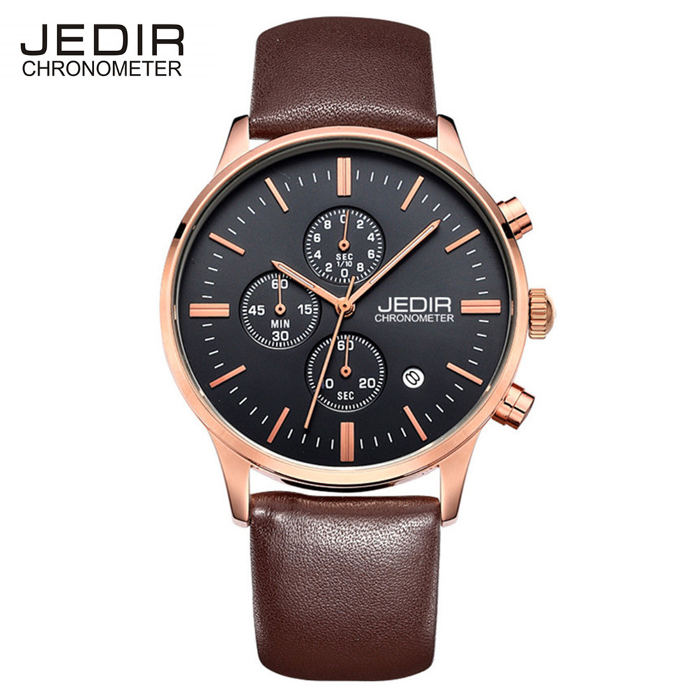 Jedir 2017 Chronograph Watches Men Brand Casual Sports Watch Display Auto Date Genuine Leather Strap Military Watch Waterproof<br><br>Aliexpress
