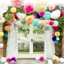 "Diy Multi Colour 5"" Paper Flowers Ball Wedding Home Birthday Party Car Decoration Tissue Paper Pom Poms(China)"