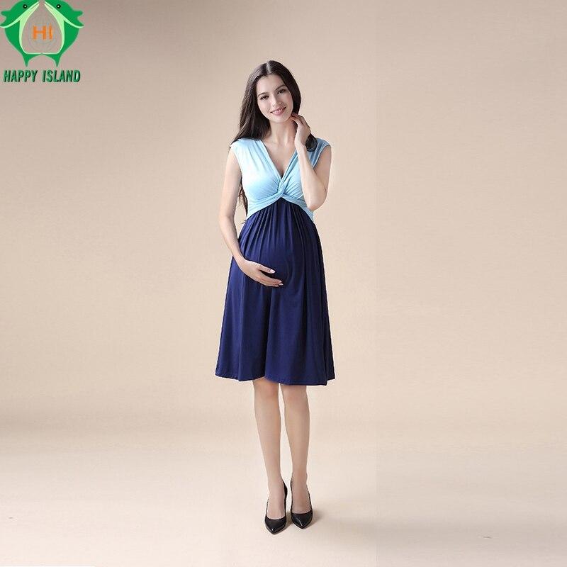 Lovely Summer Knee Length Maternity Dresses V-Neck Short Sleeve Vest Vestidos for Pregnancy Elegant Women Evening Party Dress<br>