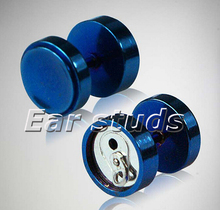 16 Gauge Titanium Anodized Blue Stainless Steel Soda Pop Can Faux Plug Cheater fake ear plugs
