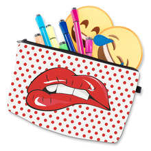 Fashion Travel Cosmetic Bag Zipped Sexy Lady Red Lips Dots Printing Makeup Women Casual Bags HJL2017(China)