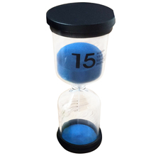 Practical Boutique 1 Blue Glass + Sand 15 minute tick time Hourglass With packaging 13*4.3CM