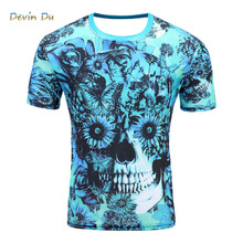 Men's Short Sleeve Polyester O-Neck T-Shirt Punk 3D thinkers/skeleton Print T shirt Men t shirt M-4XL 2017 New Fashion top tees