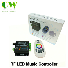 Music LED RGB Controller DC12-24V Intelligent Sonic Sensitivity LED Backlight Control with RF Touch Remote Controller.