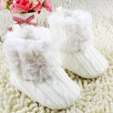 ABWE Best Sale  Infant Baby Crochet/Knit Fleece Boots Toddler Girl Wool Snow Crib Shoes Booties-white S