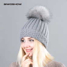 2017 New Pom Poms Winter Hat for Women Fashion Solid Warm Hats Knitted Beanies Cap Brand Thick Female Cap Wholesale(China)