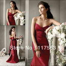 Free shipping cost red sweetheart pleated floo length long satin bridesmaid dress BD036