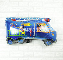 Free shipping 15pcs/lot Blue Cars Mickey and Minnie foil balloons Fire truck mylar balloon inflavel brinquedos car balloon