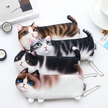 Cute simulation of Cat Pencil Bag papelaria soft nap Pencil Case stationery material escolor school supplies(China)