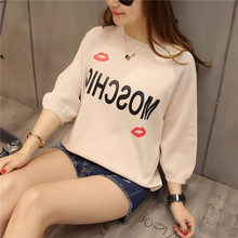 2017 new spring and summer loose loose letter pattern red lips ice linen women sweater 5288