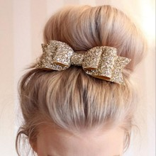 Women Baby Girls Bling Hair Clip Sequined Big Bow Knot Shiny Headwear Party Supplies birthday present(China)