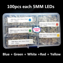 Free shipping  5MM LED Kit 100pcs each X5 Colour=500pcs/lot with free Box /  5MM  Transparent Round LED Ultra Bright  /  F5mm
