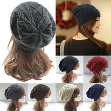 2017 Hot sales Women New Design Caps Twist Pattern Women Winter Hat Knitted Sweater Fashion beanie Hats For Women outdoor caps(China)