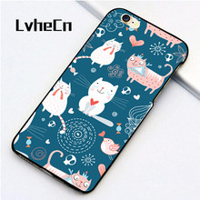 cb2f264a3ba LvheCn 5 5S SE phone cover cases for iphone 6 6S 7 8 Plus X back skin shell  CAT PATTERN BLUE DOODLES