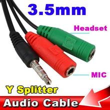 3.5mm Smart Phone Converter Adapter 1 to 2 Audio + Mic Earphone Headphone Extension Cable Y Splitter for Itouch IPT MP3