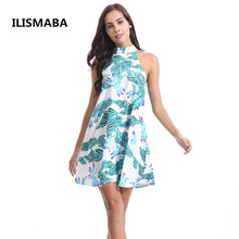 Buy ILISMABA 2018 New Summer Lady Fashion Sexy Dress High Quality Women Chiffon Print Palm Leaf Brand Sleeveless Halter Clothing