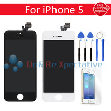 AAA Quality No Dead Pixel For iPhone 5 LCD Display with touch Screen Digitizer Assembly Black&white + Tempered Glass +Tools