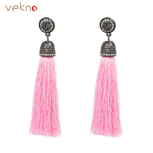 VEKNO Vintage Black Crystal Chandelier Earrings Boho Ethnic Statement Jewelry Colorful Long Tassel Dangle Drop Earring For Women(China)