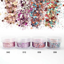 Pink Rose Colorful Nail Glitter Dust Fine Mix 3D Nail Sequins Acrylic Glitter Powder Large Nail Art Tips Decoration SF0027(China)