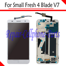 White 100% New Full LCD DIsplay+Touch Screen Digitizer + Frame Cover Assembly For ZTE Small Fresh 4 Blade V7 LTE Free shipping(China)