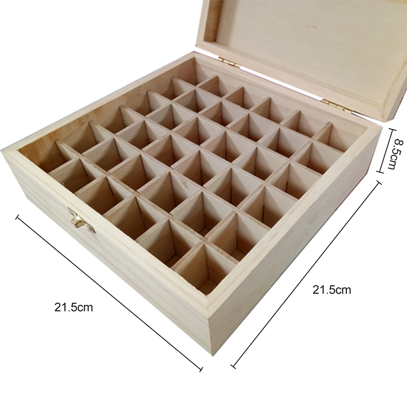 Solid Wood Essential Oil Bottle Storage Box Oversized Model Multiple Compartments Natural Essential Oil Display Case 5