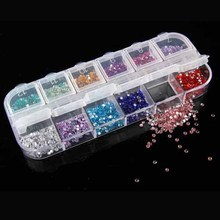 1500pcs/lot 2.0MM 12 Colors Crystal Rhinestones With Glue Flatback Crystal Stones For Clothing Nail Art Decoraion Rhinestone(China)