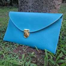 Wholesale Blanks Women Golden Chain Fold Over PU Clutch PU Wallet Purse Envelope Clutch Leather Handbag DOM106114(China)