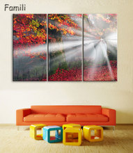 Autumn Maple Leaf Canvas Painting On The Wall Pictures For Living Room Unframed 3Pcs Flower Cuadros Decoracion Modular Pictures(China)