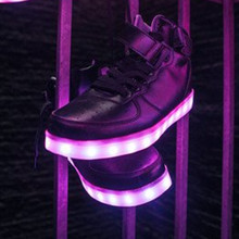 led high top shoes woman flat with ligh up Glowing casual shoes women neon basket USB Charge shoes lace unisex hot fashion
