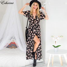 Buy Echoine Boho Floral Print Chiffon Split Long Dress Women Beach Summer V Neck Kimono Sexy Dress Eleagnt Sash Wrap Maxi Dresses for $14.68 in AliExpress store