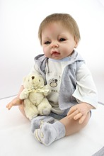 Freeshipping 22inch , 55cm High Quality  Babydoll Imported Mohair Doll Silicone Vinyl Toys Children Birthday Present