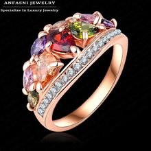 ANFASNI 2017 New Arrival  Mulitcolor Ring Rose Golden Color With Cubic Zirconia  Brand Ring Wholesale Ri-HQ0401-A