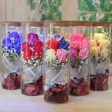 Natural Babysbreath Dried flower +Soap Rose +Glass bottle led lantern set wedding gift Christmas gift home decoration(China)