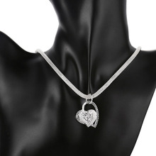 925 stamped silver plated mesh chain Necklace Charm Chain Solid Heart Pendant Choker Luxury Women Jewelry