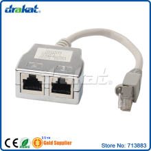 2 Port FTP STP Shielded Network ISDN RJ45 Splitter With Cable
