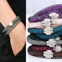 Buy Fashion Jewelry Handmade Bracelets Women Charm Rhinestone Double Mesh Full Crystal Magnetic Slimming Clasp Wrap Bangle Jewelry for $1.26 in AliExpress store