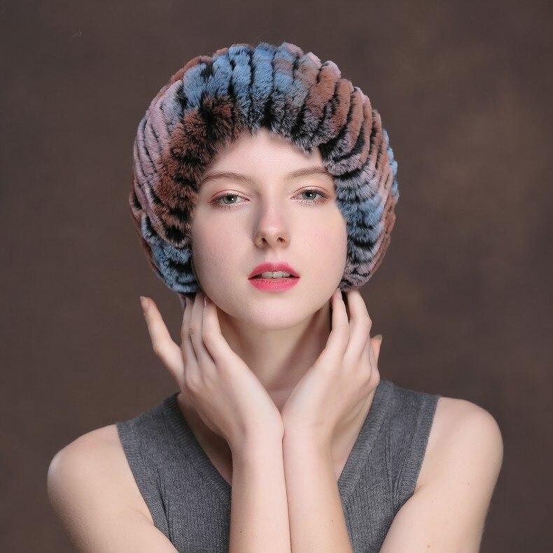 Winter Fur Headbands For Women Knitted Rex Rabbit Fur Scarf Hats Natural Fur Ring hairband Neckwarmer female (6)