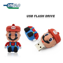 wholesale free shipping cute Mario 64GB 32GB 16GB 8GB USB Drive Flash cartoon USB 2.0 Flash Memory stick Pen Drive pendrive(China)