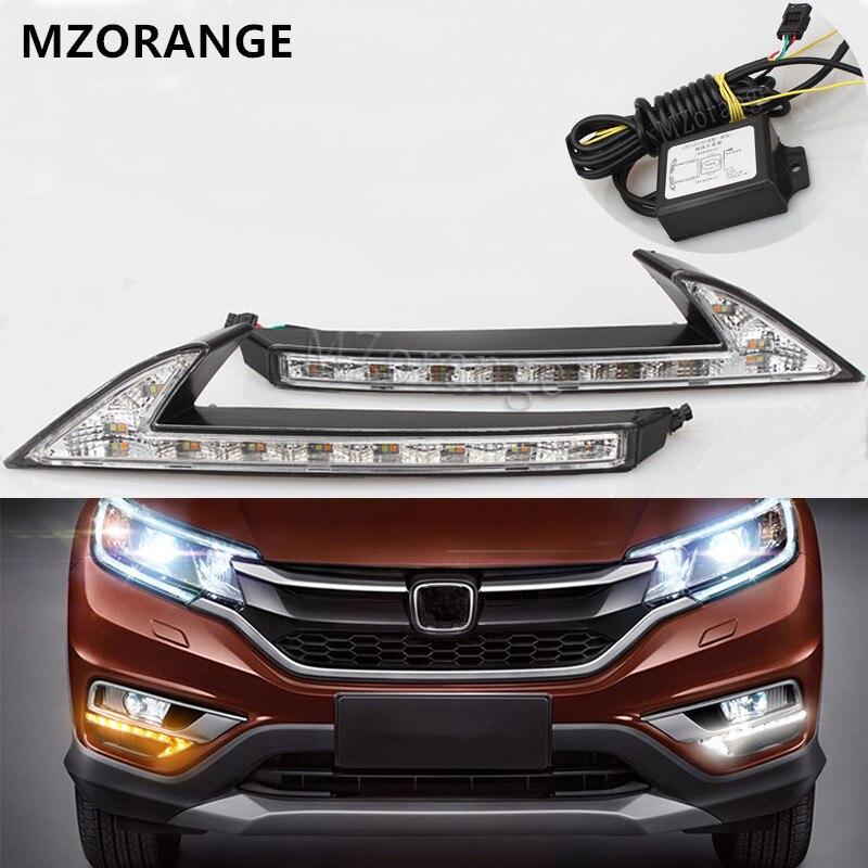 White/Yellow LED DRL Daytime Running Light Turn Signal Front Fog Lamp Daylight Car Styling For Honda CRV CR-V 2015 2016 2017<br>