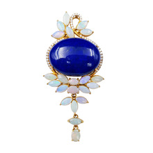 Lii Ji 18K Gold Oval Lapis Lazuli 22x30mm Australia Opal Diamond Pendant Total size 36x75mm