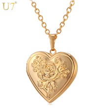 U7 Photo Frame Memory Locket Pendant Necklace Silver/Gold Color Romantic Love Heart Vintage Rose Flower Jewelry Women Gift P326(China)