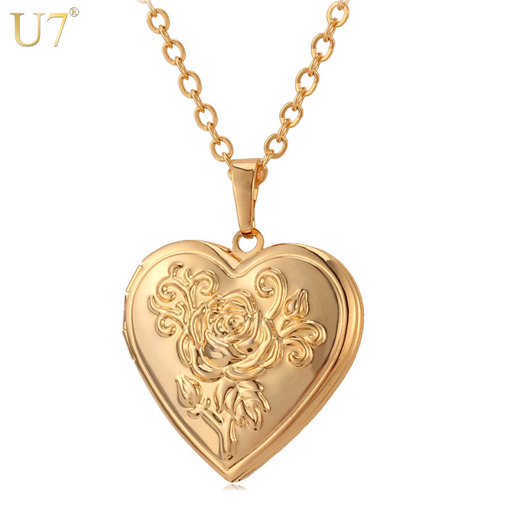 U7 Photo Frame Memory Locket Pendant Necklace Silver/Gold Color Romantic Love Heart Vintage Rose Flower Jewelry Women Gift P326(China (Mainland))