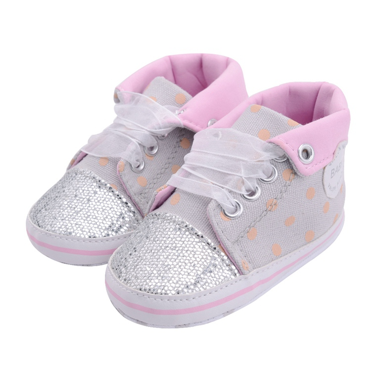 Infant Newborn Baby Girls Boy Glitter Polka Dots Autumn Lace-Up First Walkers Sneakers Shoes Adorable RibbonToddler Canvas Shoes 18