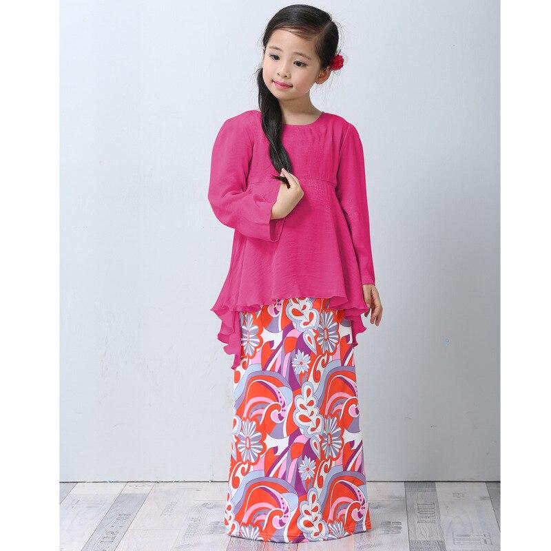 Muslim Abaya Islamic Girl Dress Children Girl Princess Printed Dress 2018 Malaysia Kids New Year Traditional Dress<br>