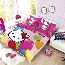 XINLANISNOW Hello Kitty Bedding Set Children Cotton Bed Sets Hello Kitty Duvet Cover Bed Sheet Pillowcase 4pcs Twin Full Queen