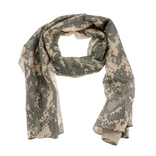 Military Tactical Camping Hiking Scarves Light Camouflage Mesh Print Scarf Men Wraps Scarves for Hiking Hunting Outdoor Sports