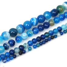 High Quantity AAA+ Natural Stone Beads Blue Stripe Onyx Round Bead 4mm 6mm 8mm 10mm Pick Your Size