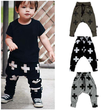 2017 Retail Kids Trousers Boys Harem Pant Cross Star Children's Girls Clothing Cotton Full Pencil Trousers Unisex Baby Pants(China)