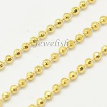 Faceted Brass Ball Chains, Round, Golden, 1.2mm